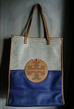 TORY BURCH LEATHER TOTE-NAUTICAL BLUE,LARGE