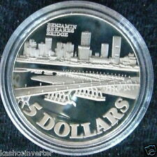 Singapore 1982 Benjamin Sheares Bridge Silver Proof $5 Coin