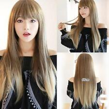 Ladies Highlights Ombre Long Straight Wig Party Lolita Cosplay Harajuku Kawaii