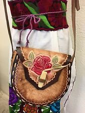 Mexican Floral Leather Bag NWOT,bohemian,Vintage 70's