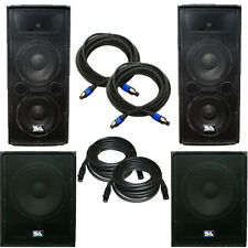 """Pair of Dual 12"""" PA Speakers, Pair of Powered 18"""" Subs,& Cables - PA/DJ Package"""