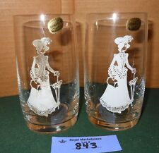 2 Vintage BOHEMIA Crystal Drink Glass Tumblers Victorian Woman Silhouette