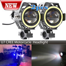 2PC 125W Black White Motorcycle CREE U7 LED Driving Headlight Spotlight For BMW