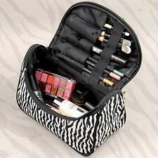 Women Pro Makeup Case Toiletry Bag Zebra Travel Handbag Organizer 2016