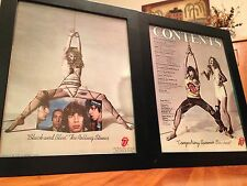 "2 FRAMED ORIGINAL ROLLING STONES ""BLACK AND BLUE"" LP ALBUM CD PROMO (PARODY) ADS"