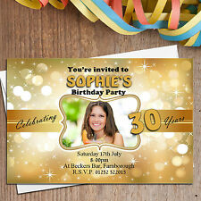10 Personalised 18th 21st 30th 40th 50th Birthday Party PHOTO Invitations N151