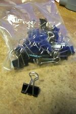"""small black metal 3/4"""" binder clips ~ lot of 50"""
