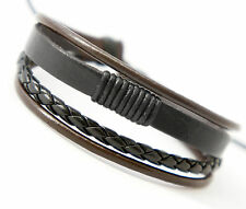 Handmade Unisex Men Women's Genuine Leather Bracelet Brown Adjustable Size