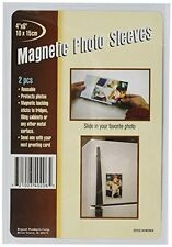 """Set of 4 Magnetic 4"""" x 6"""" Photo Sleeves Insert Picture Reusable Holder"""