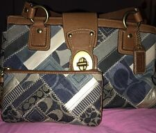 Coach Indigo Denim Jacquard Signature Patchwork Satchel & Wristlet *SHIP FREE*