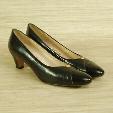 Salvatore Ferragamo Black Pumps Women's Size 8.5 AAAA Leather Heels Shoes Italy
