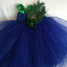 New Navy Blue Net Tutu Dress Handmade With Peacock Feather & Satin Ribbon