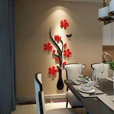 3D Flor mariposa DIY Espejo Pegatinas de Pared Art Vinilo Hogar Decoración