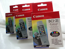 X3 Genuine Canon BCI-21 Colour Ink Cartridge Inkjet BJC-2000 4000 5000 C20 30 50