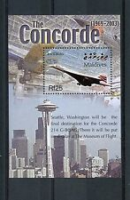 Maldives 2004 MNH Concorde Final Flight G-BOAG 1v S/S Planes Space Needle Stamps