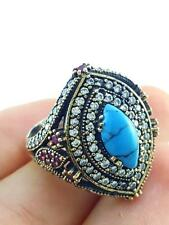 Turkish Handmade 925 Sterling Silver Jewelry Created Turquoise Ring Size 9 R2416