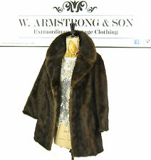 Women's VINTAGE Brown REAL MINK FUR Glossy DIVA Glam Party 40s Style Coat UK M