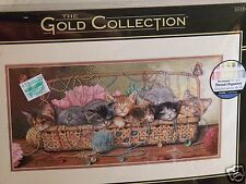 DIMENSIONS GOLD Counted Cross Stitch Kit 35184 KITTY LITTER Cats Sewing Basket