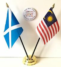 Scotland & Malaysia Double Friendship Table Flags & Badge Set