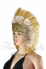 Showgirl feather sequins las vegas dancer headgear headdress in Wheat