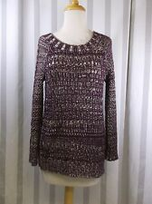 Narciso Rodriguez Maroon White open weave Sweater extra small long sleeve