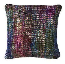 MULTI COLOUR GREEN TEAL PURPLE KNITTED CUSHION  Next Day Despatch