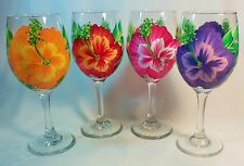 SET OF FOUR HAND PAINTED COLORFUL HIBISCUS FLOWERS ON LARGE  WHITE WINE GLASSES