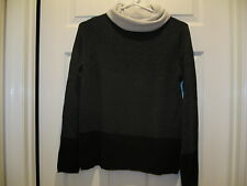 NWT 100% Cashmere Magaschoni Charcoal Colorblock Turtleneck