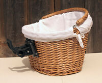 BIKE  BICYCLE WICKER SHOPPING BASKET AND HANDLE LINEN hand made, click holder
