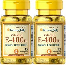 2X Puritan's Pride Vitamin E E-400IU 400IU 100 Softgels Made in USA
