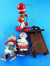 4 Vintage Wooden Christmas Tree Ornaments 3 children skating, skiing + sled