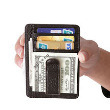 Men Genuine Leather Money Clip Magic Slim Wallet ID Credit Card Photo Holder Bag