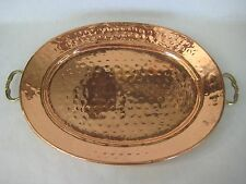 """India Hand Hammered Oval Copper Tray W/ Brass Handle, 14 3/4"""" X 10 3/4"""""""