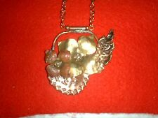 Beautiful Diana Delong Handmade Copper Brass Flower Pendant Tigereye chain