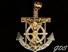 Real Genuine 10k Yellow Gold Jesus Crucifix Nugget Anchor Pendant Charm Piece