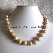 "18"" 12-14mm AA Pink Lavender Kasumi Freshwater Pearl Necklace UE"