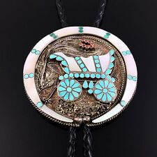 ZUNI STERLING SILVER MOSAIC INLAY COVERED WAGON BOLO TIE by VINCENT DISHTA