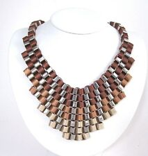NEW Beautiful Designer DONCASTER Tanner Bib Necklace SIlvertone w/Satin Ribbons