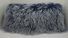 Mongolian Lamb Pillow Indigo blue Sheepskin Fur cushion New made in  USA