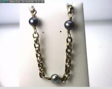 """17"""" Sterling Silver Rolo Chain Necklace with 8mm Black Pearls, 23.7 gr (B5123)"""