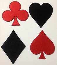 Lot of 4 Red Black Cards Suit Poker Casio Gamble Applique Iron On Patch Shirt