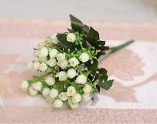 White Rose Fake Flower Silk Leaf rtificial Home Wedding Decor Bridal Bouquet