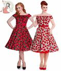 HELL BUNNY 50's CORDELIA POPPY rockabilly floral DRESS BLACK BLUE