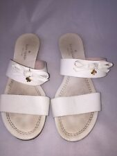 KATE SPADE SANDALS SLIPPERS SIZE 7.5 IVORY OFF-WHITE GOLD HEART FLATS