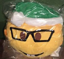 """13"""" inch Christmas Emoji Pillow Green Hat and Glasses Big Smile NEW"""