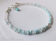 Aqua blue LARIMAR MOONSTONE ombre gem stone rondelle sterling silver bracelet