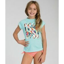 2015 NWT YOUTH GIRLS BILLABONG BLOCKHEAD SHORT SLEEVE RASHGUARD $30 M skylight