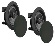 2) NEW Pyle PDIC81RDBK 250W 8 Inch Flush In-Wall In-Ceiling Black Speakers Pair