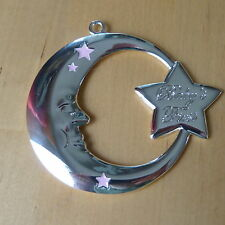 Reed & Barton Baby's Girl First Christmas  Moon Silver Ornament Engravable Back