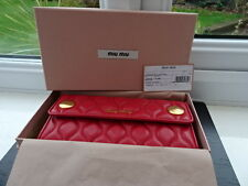 100% Authentic Miu Miu Red Quilted Leather Purse Wallet Det Card Holder BNIB